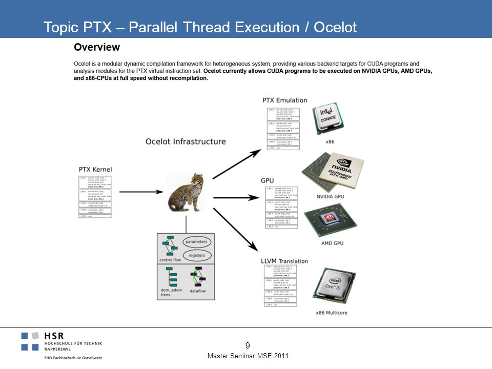 Topic PTX – Parallel Thread Execution / Ocelot Master Seminar MSE 2011 9