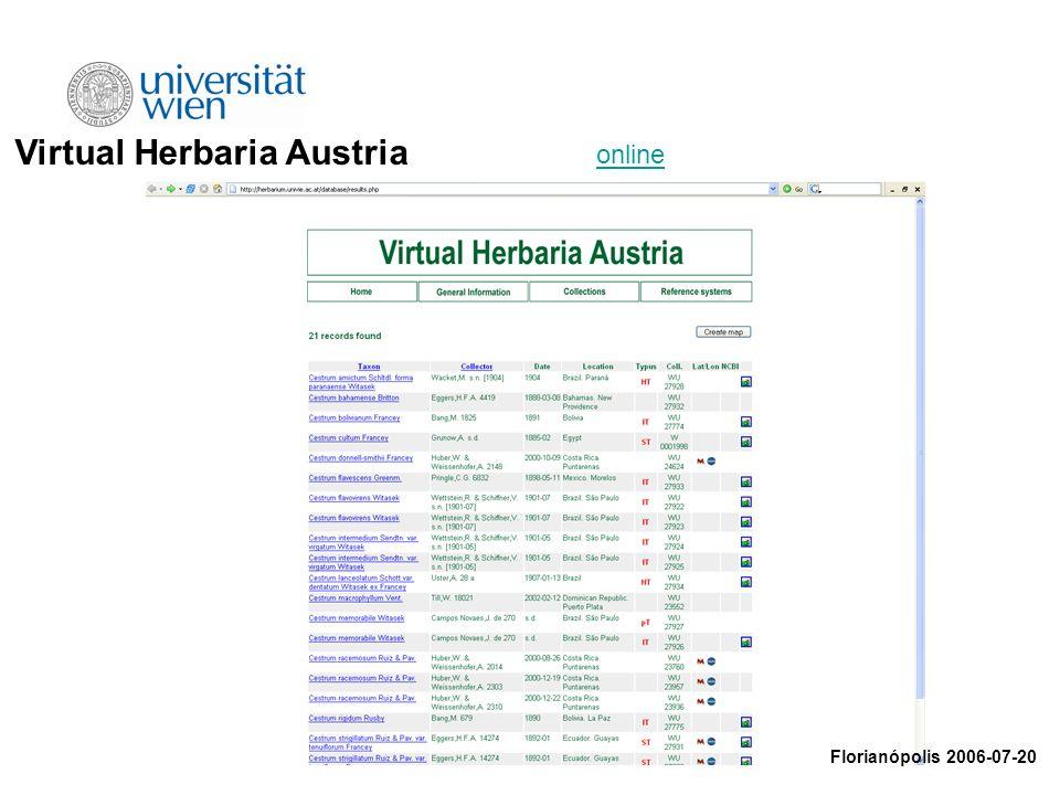 Virtual Herbaria Austria Florianópolis 2006-07-20 online
