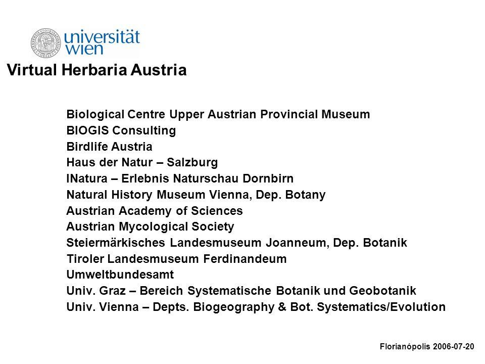 Biological Centre Upper Austrian Provincial Museum BIOGIS Consulting Birdlife Austria Haus der Natur – Salzburg INatura – Erlebnis Naturschau Dornbirn