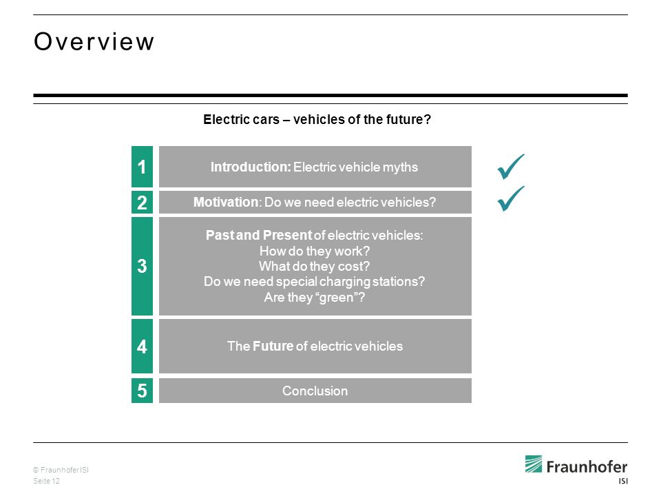 © Fraunhofer ISI Seite 12 Overview Electric cars – vehicles of the future? 4 The Future of electric vehicles 5 Conclusion 1 Introduction: Electric veh