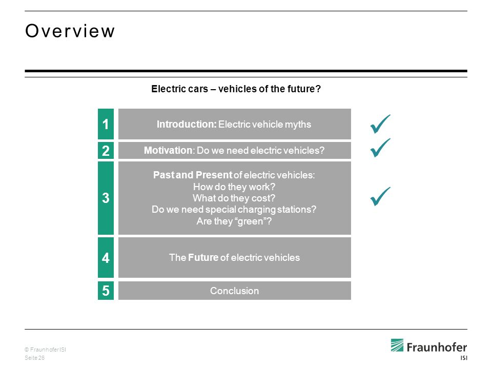 © Fraunhofer ISI Seite 26 Overview Electric cars – vehicles of the future.