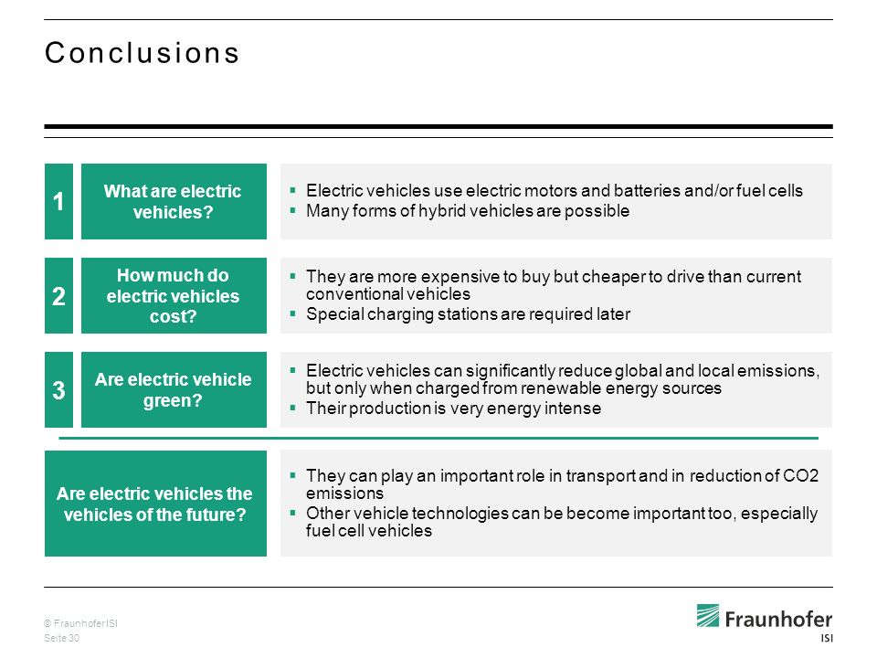 © Fraunhofer ISI Seite 30 Conclusions 2 How much do electric vehicles cost? They are more expensive to buy but cheaper to drive than current conventio
