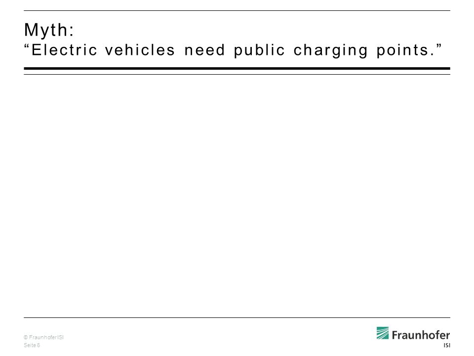 © Fraunhofer ISI Seite 6 Myth: Electric vehicles need public charging points.