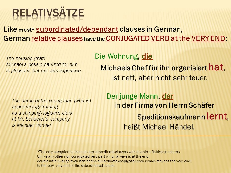 Like most* subordinated/dependant clauses in German, German relative clauses have the CONJUGATED VERB at the VERY END: *The only exception to this rule are subordinate clauses with double infinitive structures.