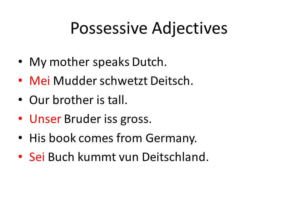 Possessive Adjectives My mother speaks Dutch. Mei Mudder schwetzt Deitsch.