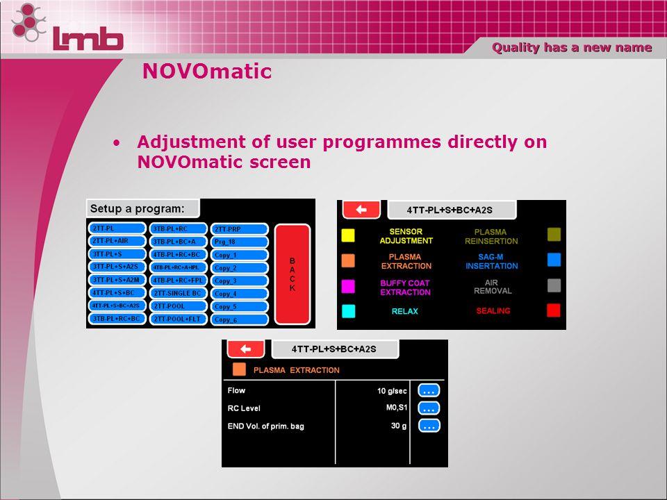 NOVOmatic Adjustment of user programmes directly on NOVOmatic screen