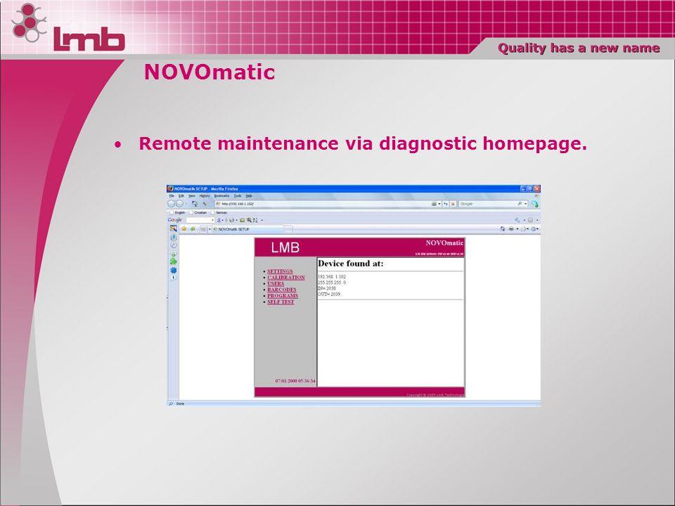 NOVOmatic Remote maintenance via diagnostic homepage.
