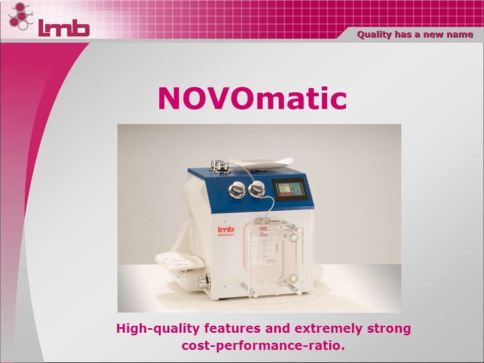 Automatic separator of blood components.