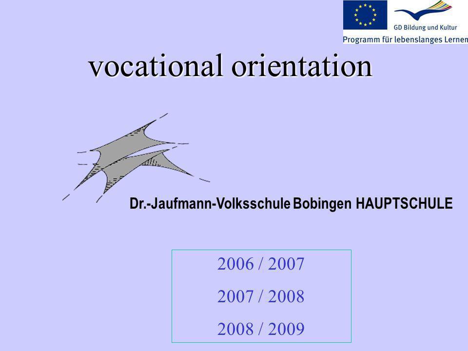 vocational orientation 2006 / 2007 2007 / 2008 2008 / 2009 Dr.-Jaufmann-Volksschule Bobingen HAUPTSCHULE