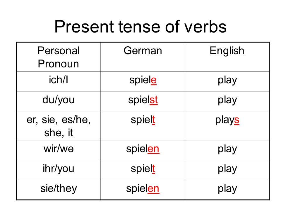 Present tense of verbs Personal Pronoun GermanEnglish ich/Ispieleplay du/youspielstplay er, sie, es/he, she, it spieltplays wir/wespielenplay ihr/yous