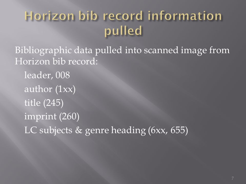 Bibliographic data pulled into scanned image from Horizon bib record: leader, 008 author (1xx) title (245) imprint (260) LC subjects & genre heading (6xx, 655) 7