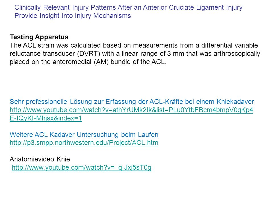 Clinically Relevant Injury Patterns After an Anterior Cruciate Ligament Injury Provide Insight Into Injury Mechanisms Testing Apparatus The ACL strain