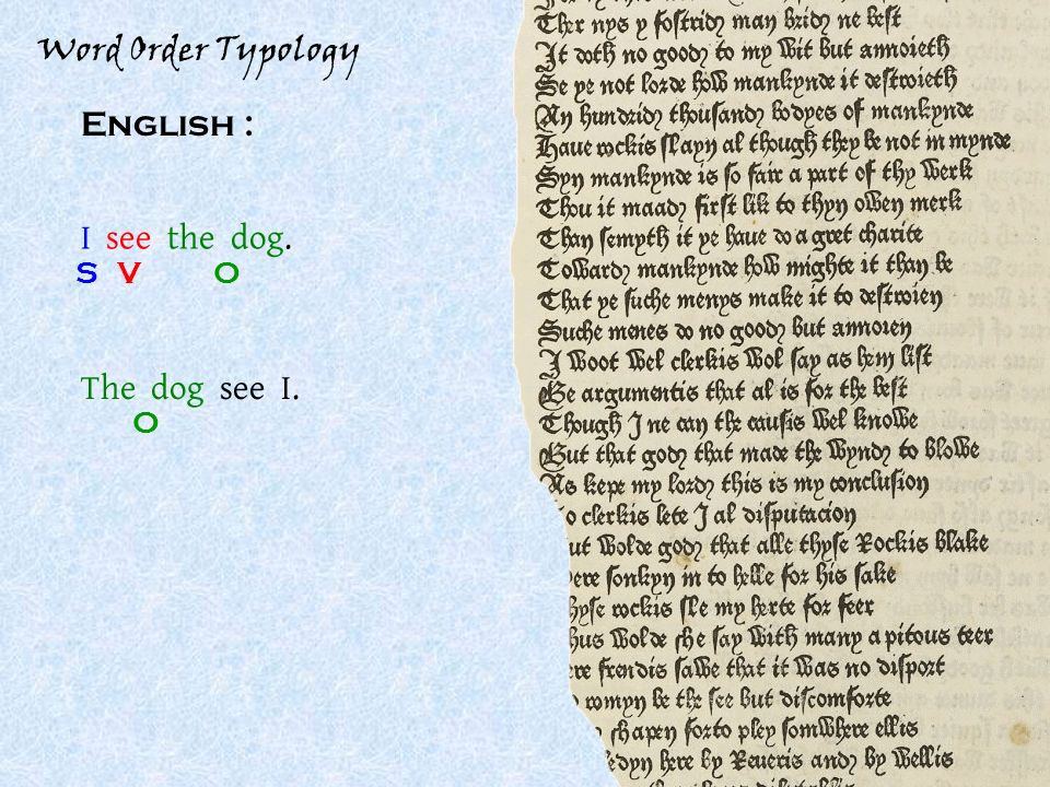 Word Order Typology English : I see the dog. SOV The dog see I. O