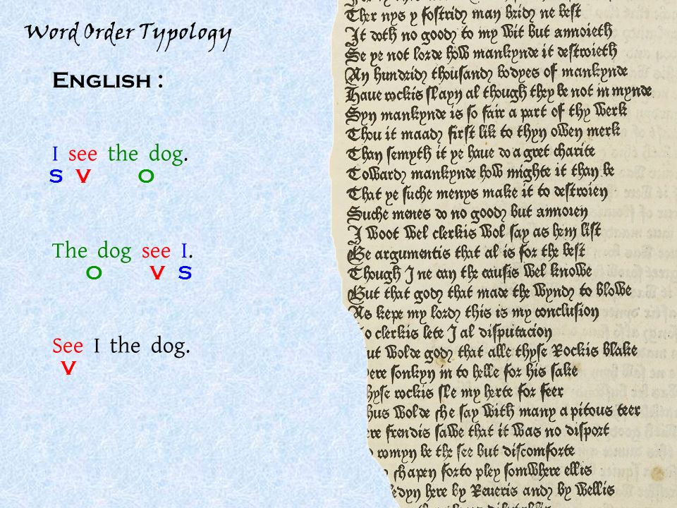 Word Order Typology English : I see the dog. SOV See I the dog. V The dog see I. SOV