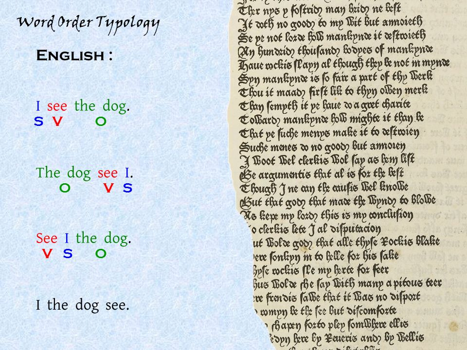 Word Order Typology English : I see the dog. SOV See I the dog.