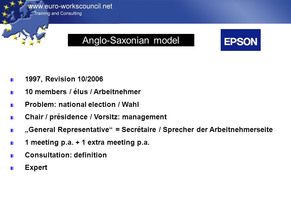 1997, Revision 10/2006 10 members / élus / Arbeitnehmer Problem: national election / Wahl Chair / présidence / Vorsitz: management General Representative = Secrétaire / Sprecher der Arbeitnehmerseite 1 meeting p.a.