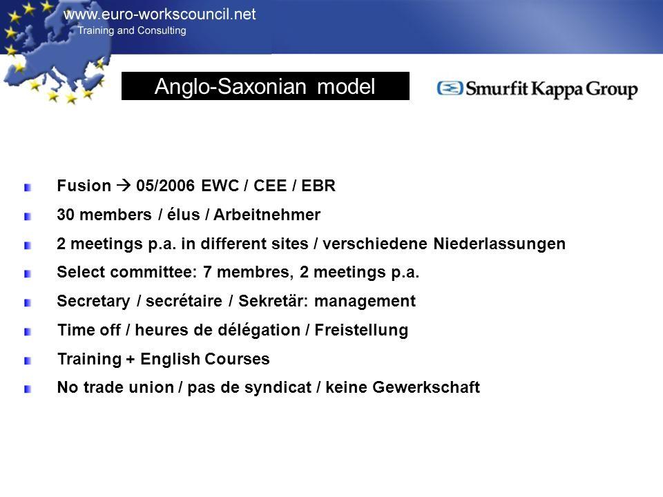 Fusion 05/2006 EWC / CEE / EBR 30 members / élus / Arbeitnehmer 2 meetings p.a.