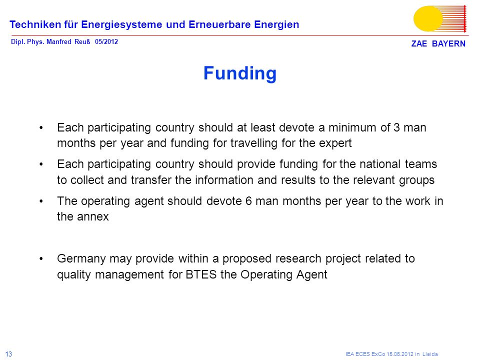 ZAE BAYERN Techniken für Energiesysteme und Erneuerbare Energien Dipl. Phys. Manfred Reuß 05/2012 IEA ECES ExCo 15.05.2012 in Lleida 13 Funding Each p