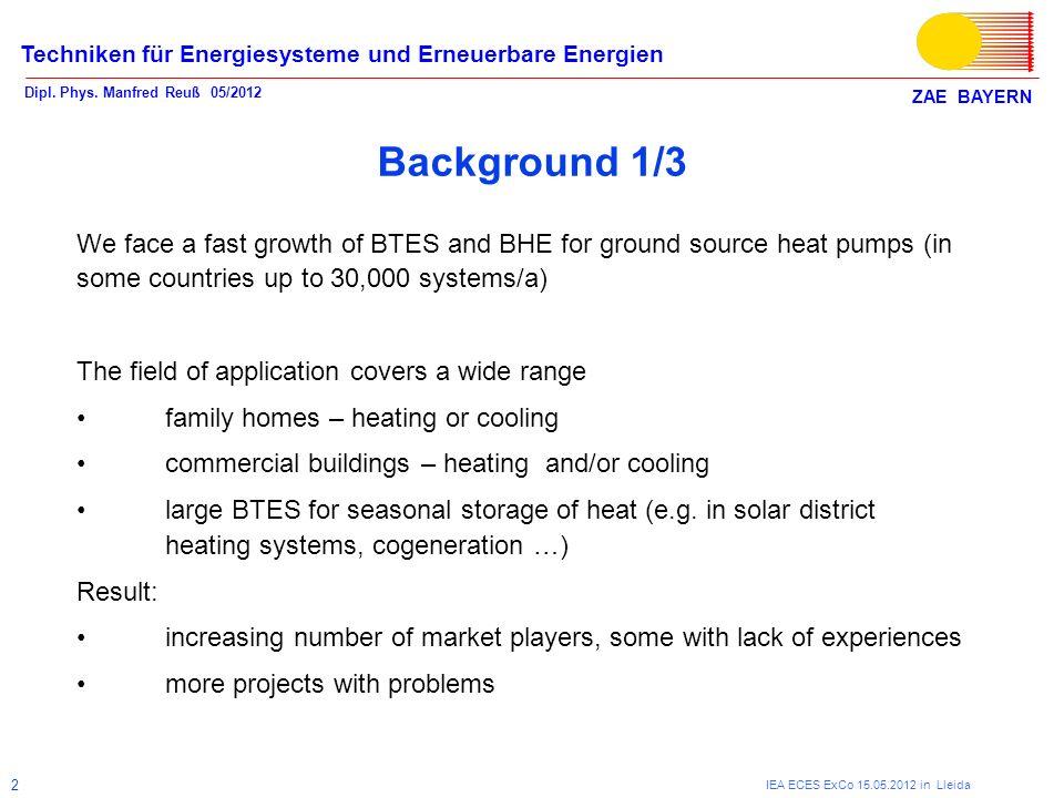 ZAE BAYERN Techniken für Energiesysteme und Erneuerbare Energien Dipl. Phys. Manfred Reuß 05/2012 IEA ECES ExCo 15.05.2012 in Lleida 2 Background 1/3