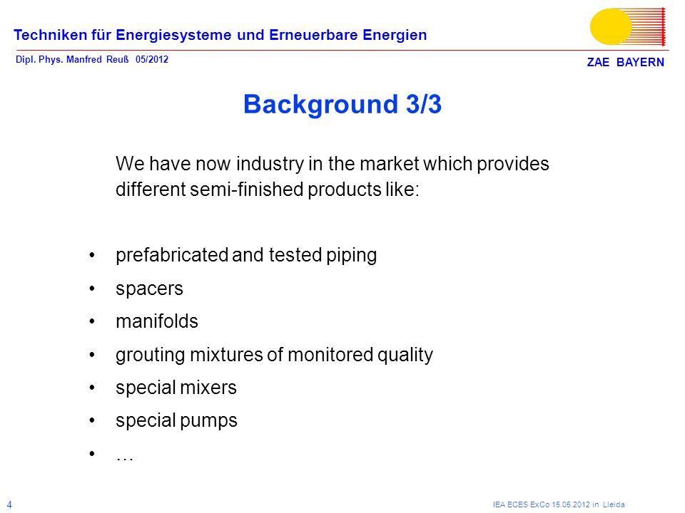ZAE BAYERN Techniken für Energiesysteme und Erneuerbare Energien Dipl. Phys. Manfred Reuß 05/2012 IEA ECES ExCo 15.05.2012 in Lleida 4 Background 3/3