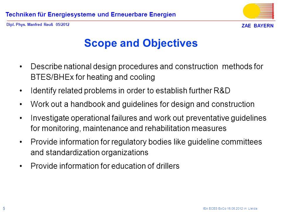 ZAE BAYERN Techniken für Energiesysteme und Erneuerbare Energien Dipl. Phys. Manfred Reuß 05/2012 IEA ECES ExCo 15.05.2012 in Lleida 5 Scope and Objec