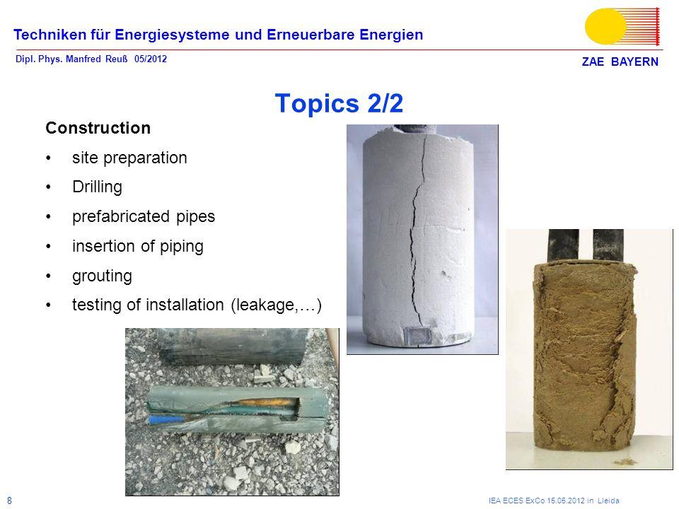 ZAE BAYERN Techniken für Energiesysteme und Erneuerbare Energien Dipl. Phys. Manfred Reuß 05/2012 IEA ECES ExCo 15.05.2012 in Lleida 8 Topics 2/2 Cons