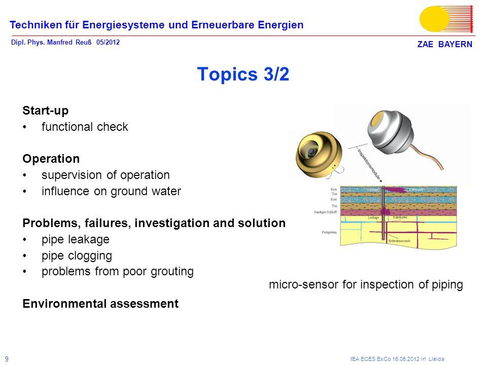 ZAE BAYERN Techniken für Energiesysteme und Erneuerbare Energien Dipl. Phys. Manfred Reuß 05/2012 IEA ECES ExCo 15.05.2012 in Lleida 9 Topics 3/2 Star