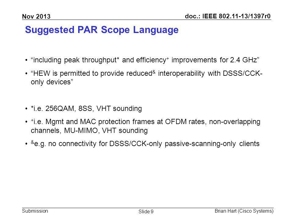 doc.: IEEE 802.11-13/1397r0 Submission Nov 2013 Brian Hart (Cisco Systems) Slide 10 Summary Ensure the PAR&5C allows HEW, in conjunction with 11ai and WFA, to –Discourage use of DSSS/CCK for mgmt frames (6x less overhead) –Discourage use of DSSS/CCK for ctrl frames (6x less overhead) –Limit HW AP channels to 1/6/11/(14) (effective virtual carrier sense; enables 3- 5x less overhead over time) Ensure the PAR&5C allows HEW to –Port narrowband 11ac features to 2.4 GHz such as 256QAM, VHT sounding, MU-MIMO, 8SS Let the renewal of 2.4 GHz begin!
