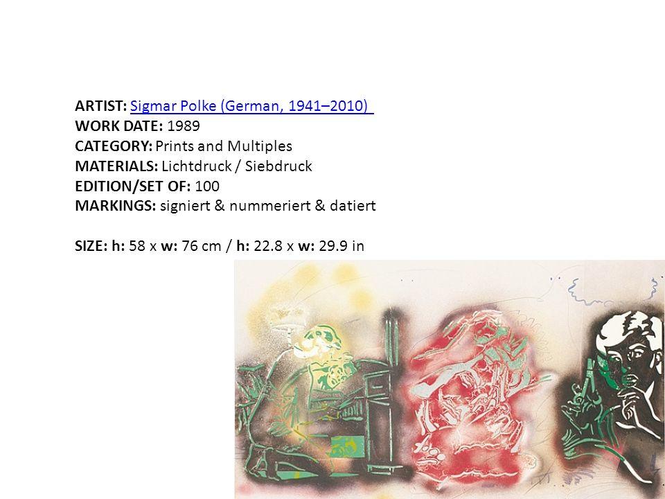 ARTIST: Sigmar Polke (German, 1941–2010)Sigmar Polke (German, 1941–2010) WORK DATE: 1989 CATEGORY: Prints and Multiples MATERIALS: Lichtdruck / Siebdr
