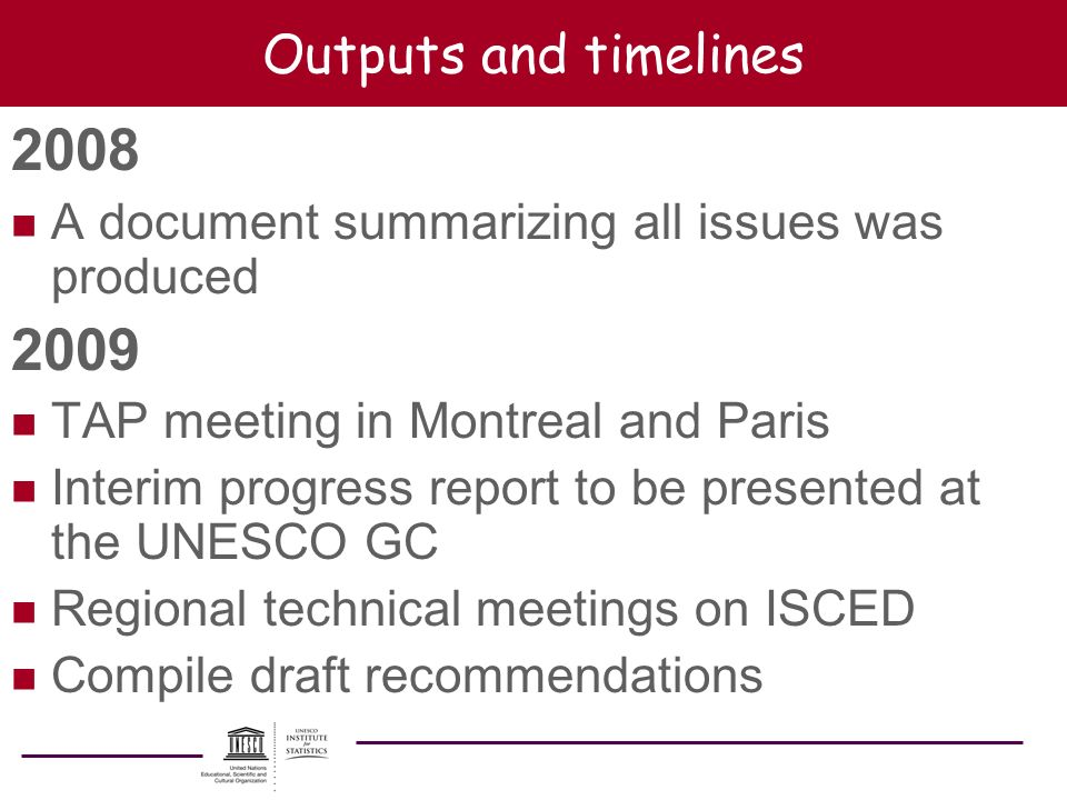 Outputs and timelines 2008 n A document summarizing all issues was produced 2009 n TAP meeting in Montreal and Paris n Interim progress report to be p