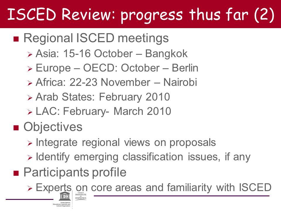 ISCED Review: progress thus far (2) n Regional ISCED meetings Asia: 15-16 October – Bangkok Europe – OECD: October – Berlin Africa: 22-23 November – N