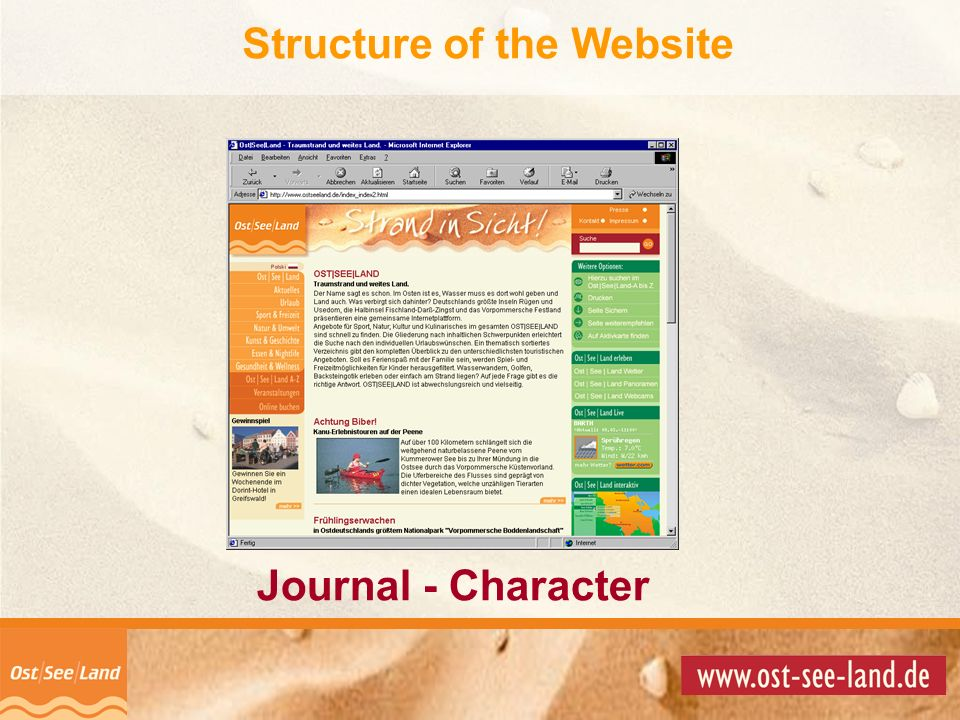 © Copyright 2001 by Information + Service News + Stories OST|SEE|LAND FEEL it! Journal - Character Structure of the Website