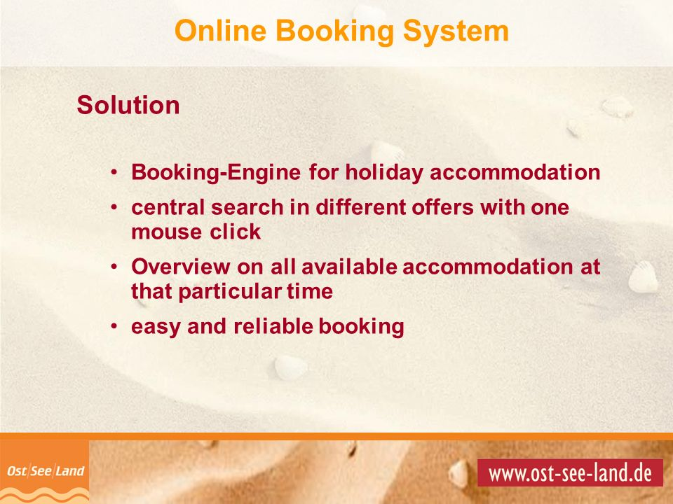 © Copyright 2001 by Solution Booking-Engine for holiday accommodation central search in different offers with one mouse click Overview on all availabl