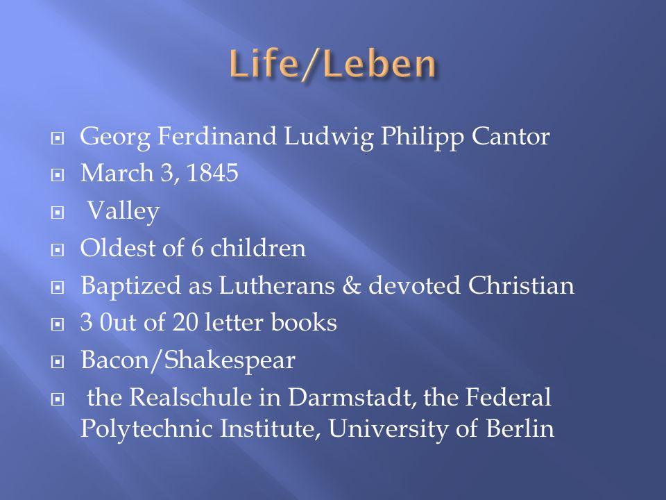 Probleme des Unendlichen: Werk und Leben Georg Cantors (1967) Beitrage (of 1895 & 1897) 1862 devoted his life to Math Leopold Kronecker, continuum hypothesis 1896 mother, 3 years later brother Artist