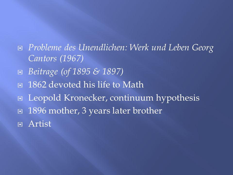Probleme des Unendlichen: Werk und Leben Georg Cantors (1967) Beitrage (of 1895 & 1897) 1862 devoted his life to Math Leopold Kronecker, continuum hyp