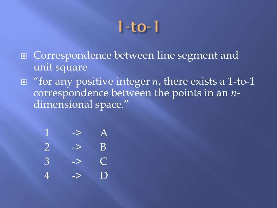 Correspondence between line segment and unit square for any positive integer n, there exists a 1-to-1 correspondence between the points in an n - dime