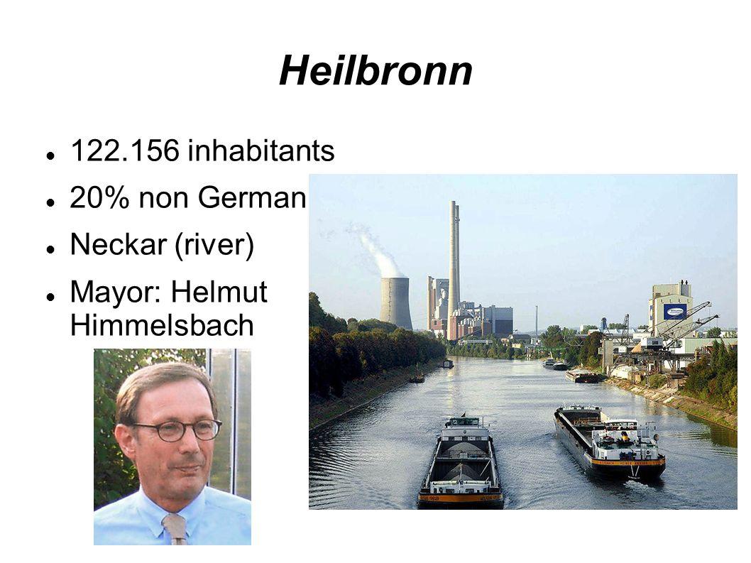 Heilbronn 122.156 inhabitants 20% non German Neckar (river) Mayor: Helmut Himmelsbach