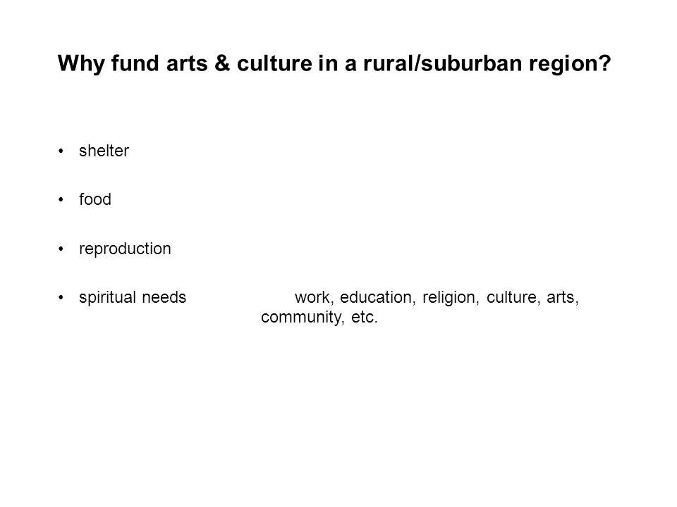 Why fund arts & culture in a rural/suburban region.
