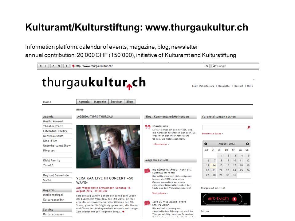 Kulturamt/Kulturstiftung: www.thurgaukultur.ch Information platform: calendar of events, magazine, blog, newsletter annual contribution: 20000 CHF (150000), initiative of Kulturamt and Kulturstiftung