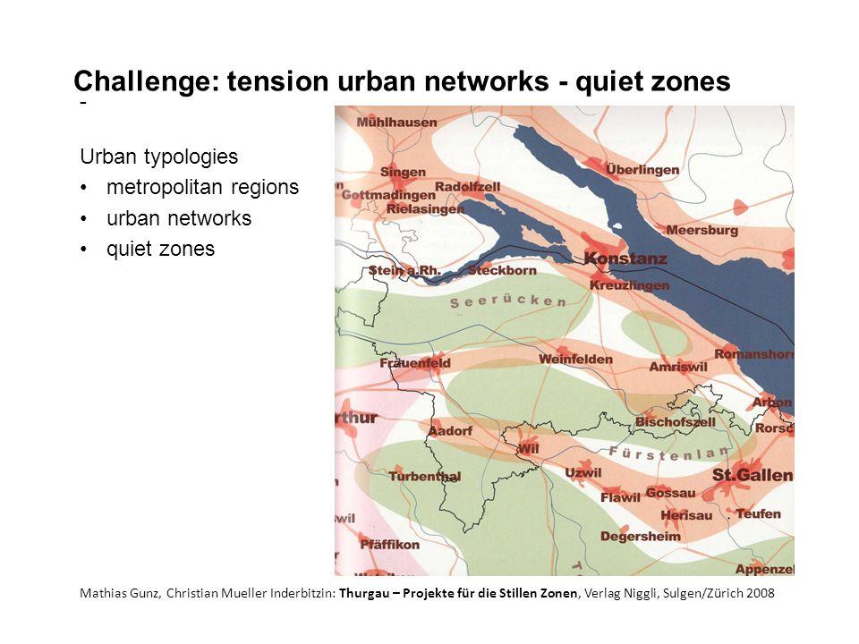 Challenge: tension urban networks - quiet zones - Urban typologies metropolitan regions urban networks quiet zones Mathias Gunz, Christian Mueller Inderbitzin: Thurgau – Projekte für die Stillen Zonen, Verlag Niggli, Sulgen/Zürich 2008
