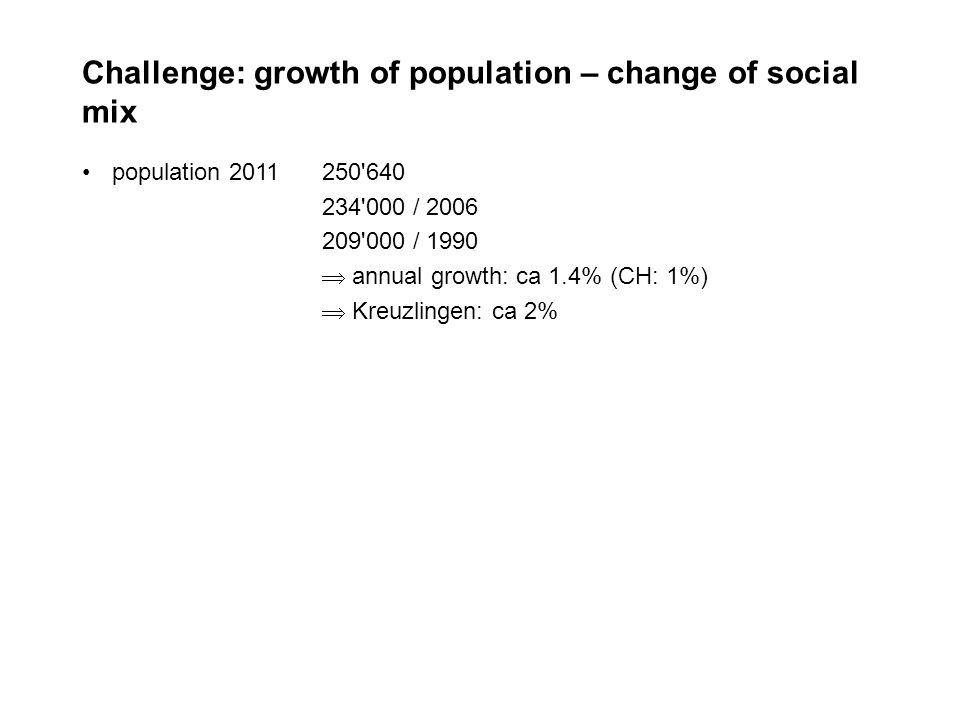Challenge: growth of population – change of social mix population 2011250 640 234 000 / 2006 209 000 / 1990 annual growth: ca 1.4% (CH: 1%) Kreuzlingen: ca 2%
