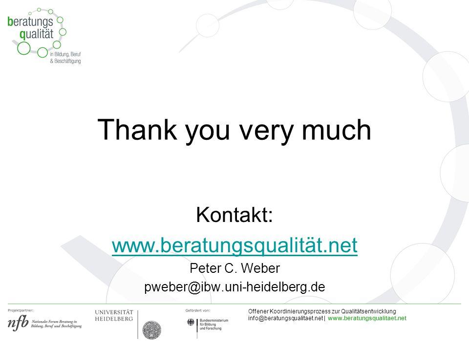 Offener Koordinierungsprozess zur Qualitätsentwicklung info@beratungsqualitaet.net | www.beratungsqualitaet.net Thank you very much Kontakt: www.berat