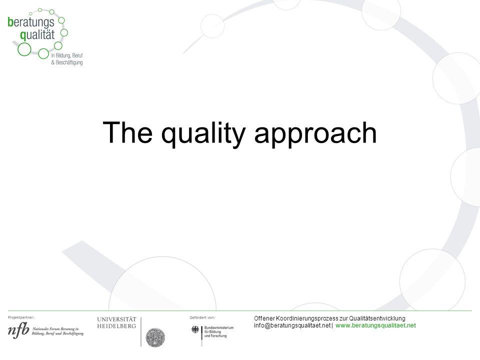 Offener Koordinierungsprozess zur Qualitätsentwicklung info@beratungsqualitaet.net | www.beratungsqualitaet.net The quality approach