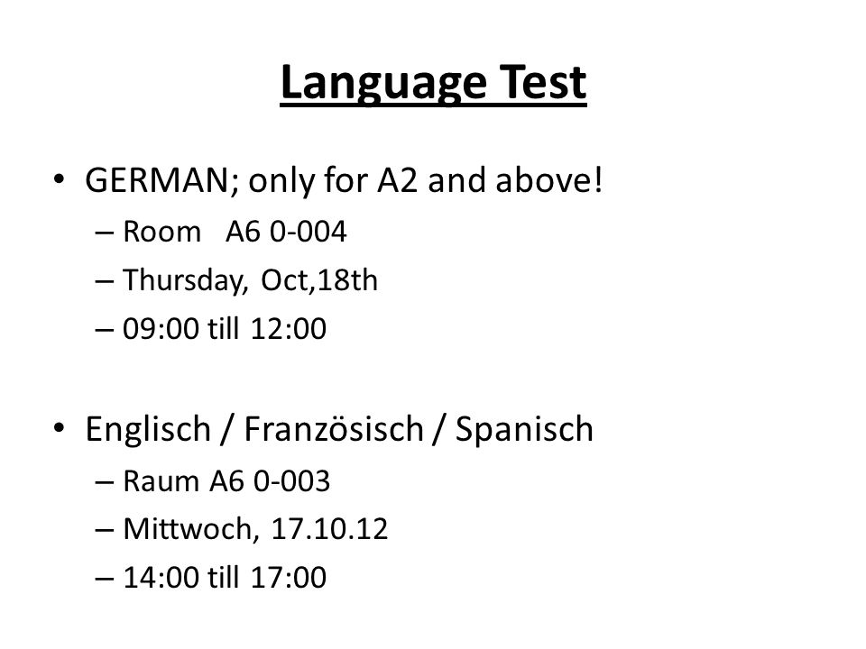 Language Test GERMAN; only for A2 and above.