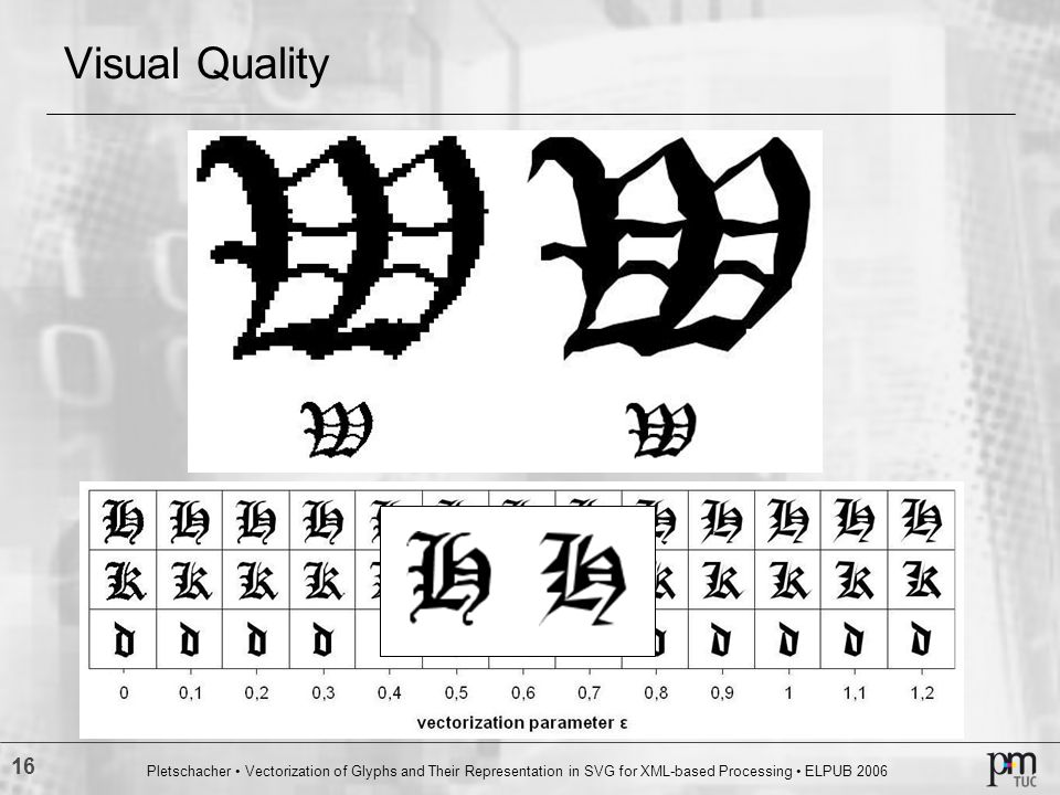 16 Pletschacher Vectorization of Glyphs and Their Representation in SVG for XML based Processing ELPUB 2006 Visual Quality