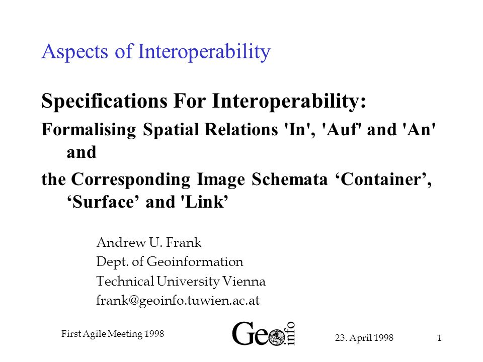 23. April 1998 First Agile Meeting 1998 1 Aspects of Interoperability Specifications For Interoperability: Formalising Spatial Relations 'In', 'Auf' a