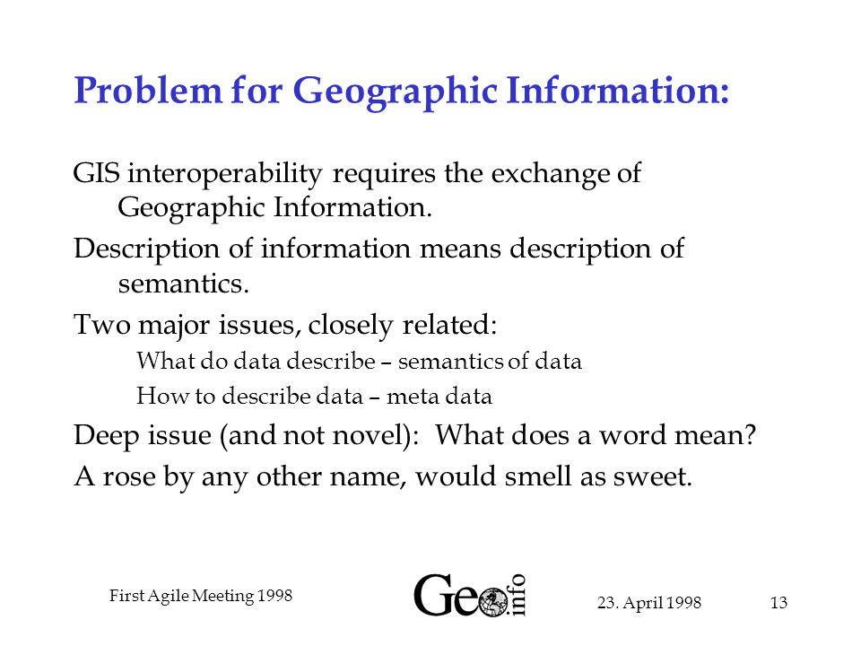 23. April 1998 First Agile Meeting 1998 13 Problem for Geographic Information: GIS interoperability requires the exchange of Geographic Information. D