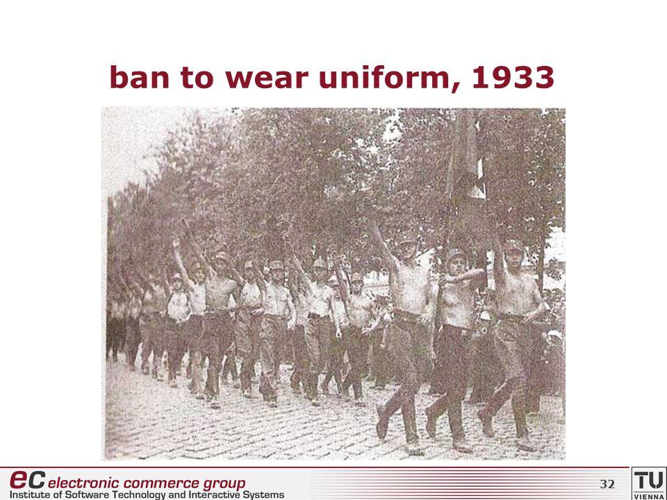 ban to wear uniform, 1933 32