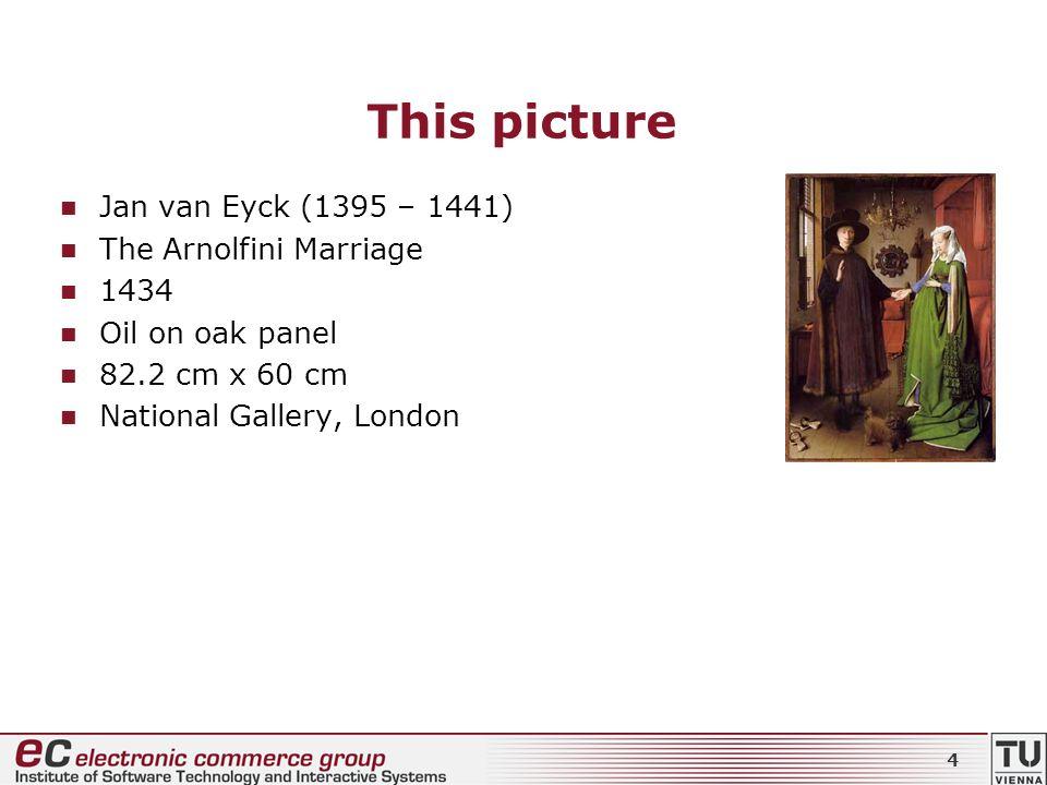 This picture Jan van Eyck (1395 – 1441) The Arnolfini Marriage 1434 Oil on oak panel 82.2 cm x 60 cm National Gallery, London 4