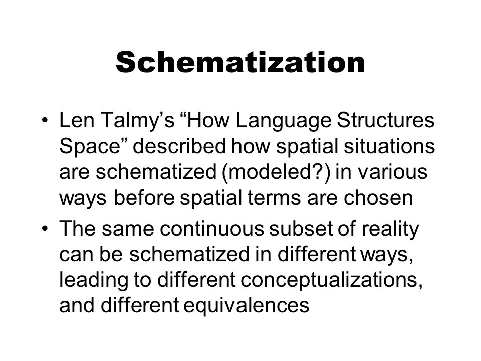 Schematization Len Talmys How Language Structures Space described how spatial situations are schematized (modeled ) in various ways before spatial terms are chosen The same continuous subset of reality can be schematized in different ways, leading to different conceptualizations, and different equivalences